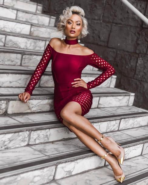 Dress tumblr red dress red mini dress mini dress body bodycon dress bodycon long sleeves ...