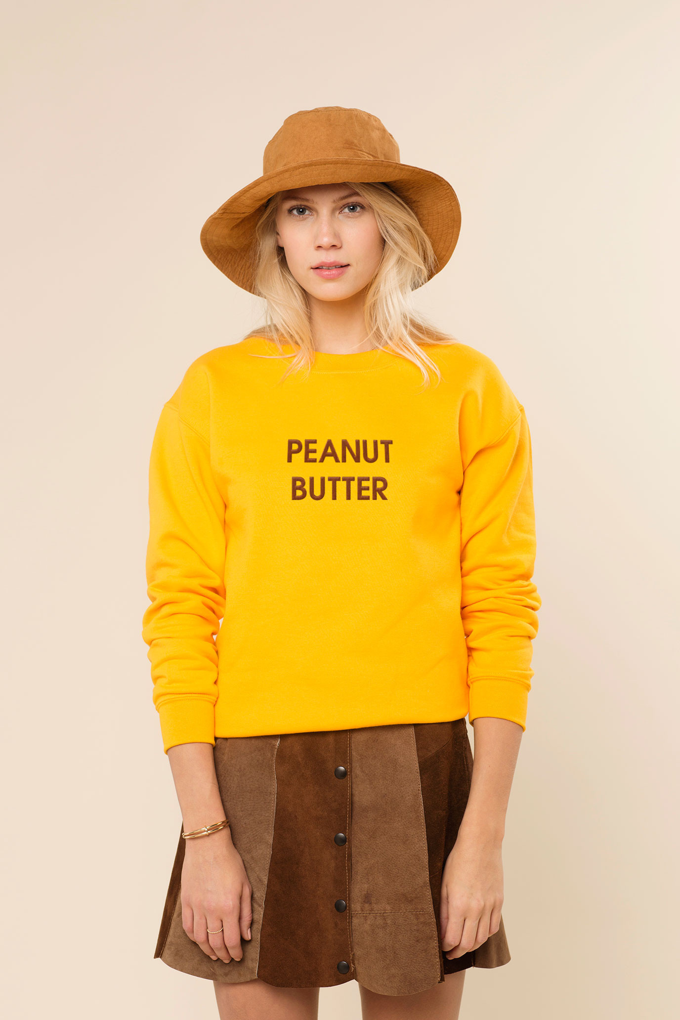 Rad peanut butter embroidered sweater throwback everyday for Peanut butter t shirt dress