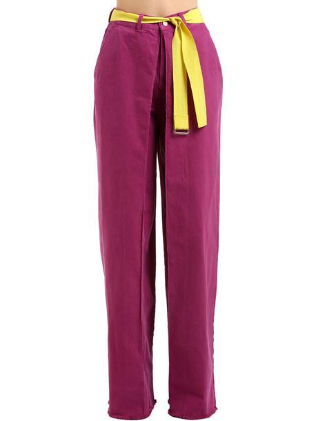 AALTO High Waist Wide Leg Cotton Denim Jeans in fuchsia