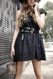 dress,tumblr,mini dress,one shoulder,belt,bag,bucket bag,black dress