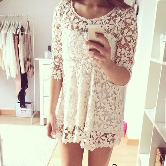 white dress cream dress ivory dress dress frees outfit outfits girly girl model nice cute lace lacey white vintage retro retro dress vintage dress idea ideas tumblr little white dress
