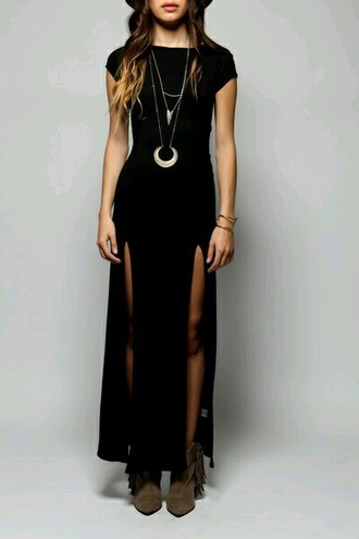 dress boho slit sides