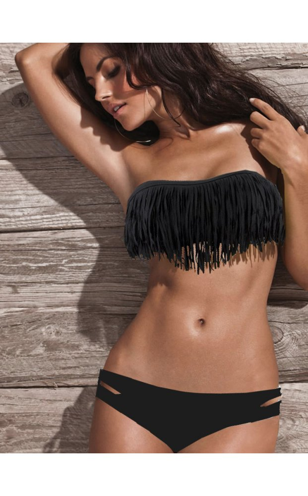 Black Swimsuit - Black Strapless Fringe Bikini | UsTrendy