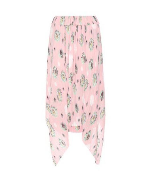 Kenzo Printed Plissé Skirt in pink