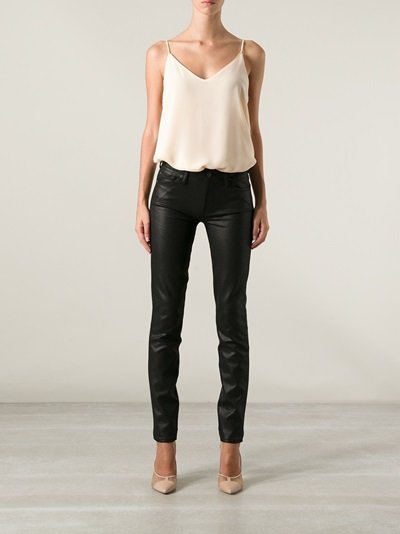 7 For All Mankind 'the Skinny' Coated Double Knit Trouser - Twentyone St. Johns Wood - Farfetch.com