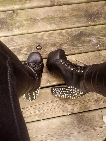 shoes studs black studded heels ankle heels black leather pleather
