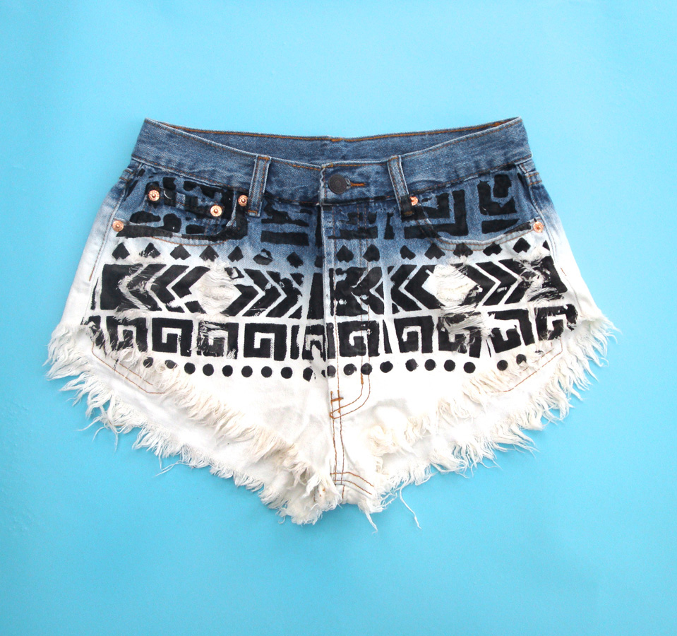 Ombre Tribal High Waisted White Wash Distressed Denim Jean Shorts ...
