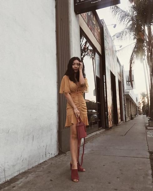 dress dressw wrap dress yellow dress short dress sandals bag