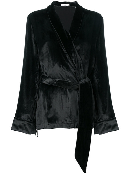 Equipment blouse women black silk top