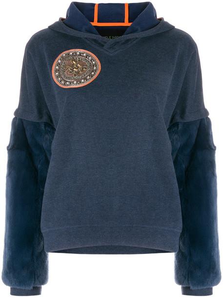 hoodie fur women cotton blue sweater