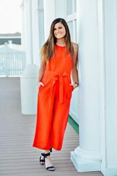 to be bright,blogger,jumpsuit,shoes,orange jumpsuit,sandals