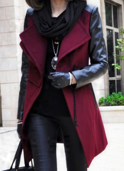 Wine Red Contrast PU Leather Sleeve Double Lapel Zipper Coat - Sheinside.com