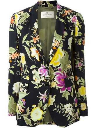 blazer women spandex floral cotton print black jacket