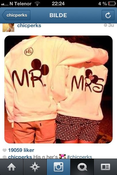 sweater chicperks couple sweaters cute mickey mouse minnie mouse instagram his hers boyfriend girlfriend disney