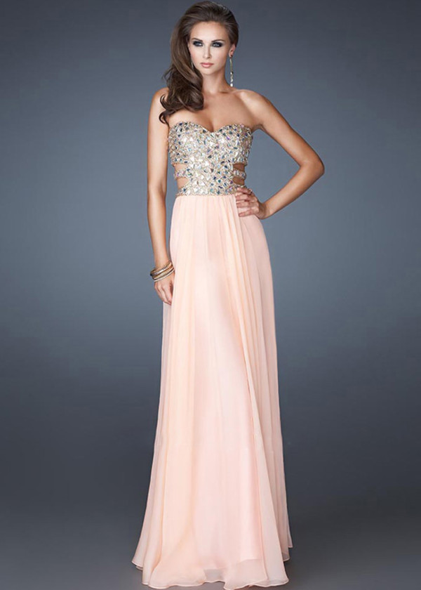 dress chiffon rhinestones prom dress