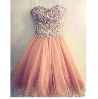 dress pink prom dress shortdress sparkle tool short dress pink pink dress diamonds formal dress fancy dress glitter rose dress prom salmon jewels sweetheart prom dress color dress ball gown