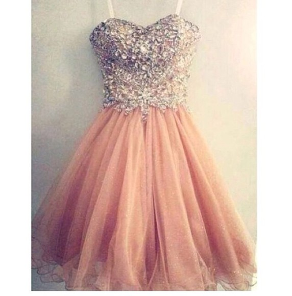 pink dress salmon jewels sweetheart prom dress shortdress sparkle , dress , prom , cute , pink , tool , short dress pink , dress , pink dress , pretty dress , diamonds , formal dress, fancy dress, glitter rose dress prom