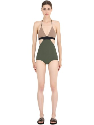 one piece swimsuit black green beige swimwear