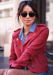 sunglasses,sincerely jules,red leather,red jacket,red,leather jacket,denim,jeans,jean blouse,denim shirt,necklace,jacket