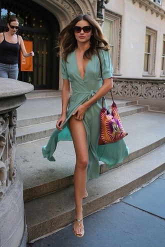 dress summer dress lightweight sexy miranda kerr mint mint dress wrap dress green