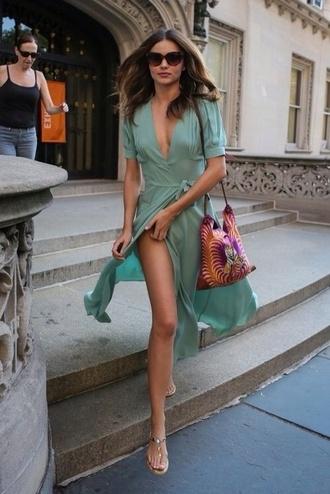dress green turquoise wrap dress midi dress miranda kerr slit dress slit spring dress v neck dress