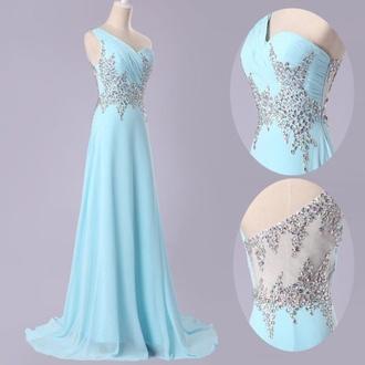 light blue prom prom dress