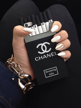 phone case chanel black and silver cigarets.   cover
