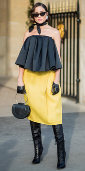shoes,skirt,boots,paris fashion week 2018,fashion week,strapless,olivia culpo,yellow,purse,sunglasses,bag