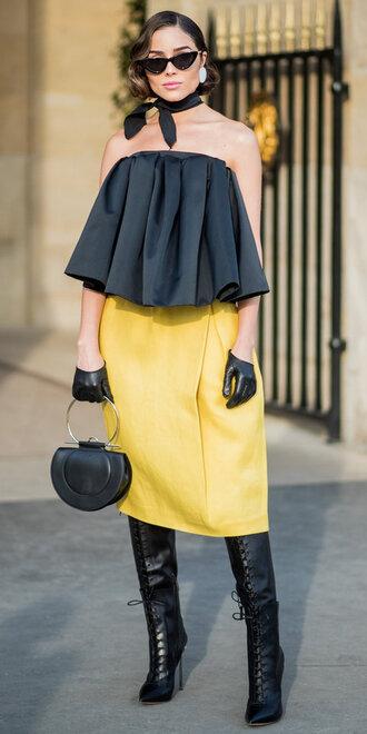 shoes skirt boots paris fashion week 2018 fashion week strapless olivia culpo yellow purse sunglasses bag