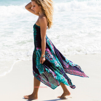 dress multi-color beach sunshine tube top amazinglace flowy