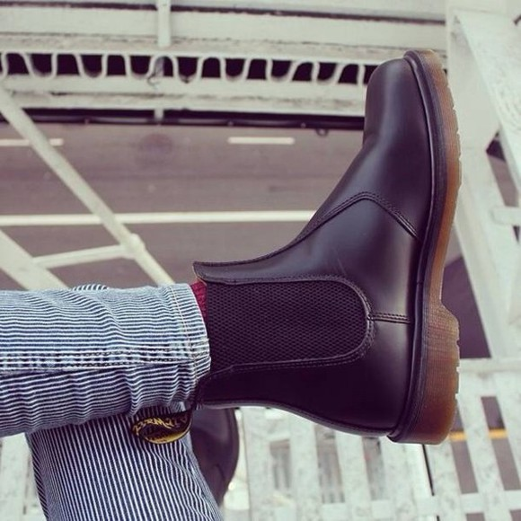 pants boots fur grey dr mertens martens DrMartens leather caoutchou striped red bleu navy brown booties jeans