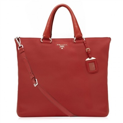 Prada Red Leather Tote Bag | Portero Luxury