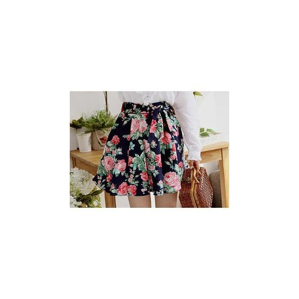 Tie-Front A-Line Floral Skirt - Sechuna - Polyvore