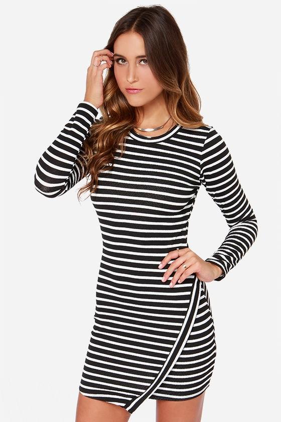458341fb2068 Black and White Striped Dress - Long Sleeve Dress - Asymmetrical ...