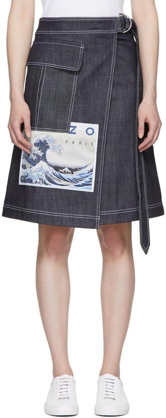 skirt wrap skirt denim navy