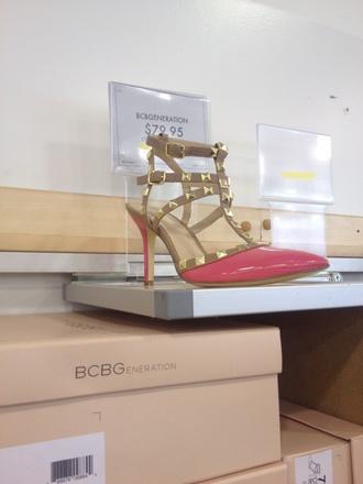 shoes pinkshoe spikes heelswstuds heelswithstuds heelswithstrap heels heelswithspikes studs