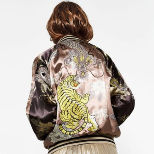 d70fc3cc67f4 jacket, zara, bomber jacket, dragon, tiger - Wheretoget