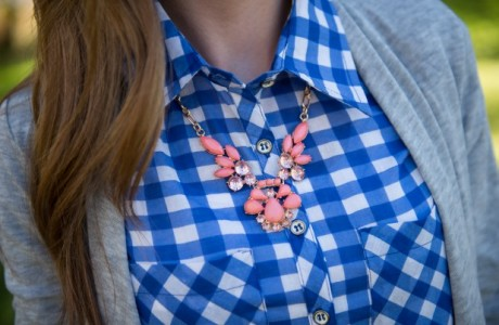 GroopDealz | Sheer Gingham Button-Up