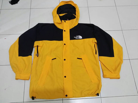 b1303e153 Sale Vintage Hidden Hooded Colour Block The North Face Jacket Yellow Black  Color Size zip Up with Button Down Men's L
