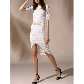dress rose wholesale white dress lace up lace dress boho chic style two piece dress set strappy heels sandals white lace dress black sandals