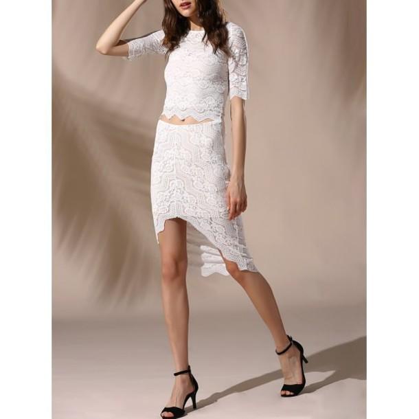 dc25749b9ea3 dress rose wholesale white dress lace up lace dress boho chic style two  piece dress set