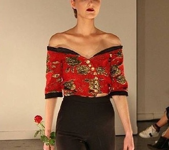 shirt red crop cropped blouse top floral flowere fashion runway design model modelling modeling art artist celebrity celeb celebs