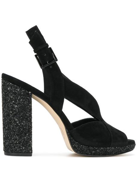 Michael Kors women sandals leather suede black shoes