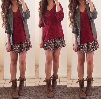 skirt short skirt hipster short floral flowers pattern cute girly trendy burgundy sweater skater skirt sweater burgundy hot warm oversized sweater red