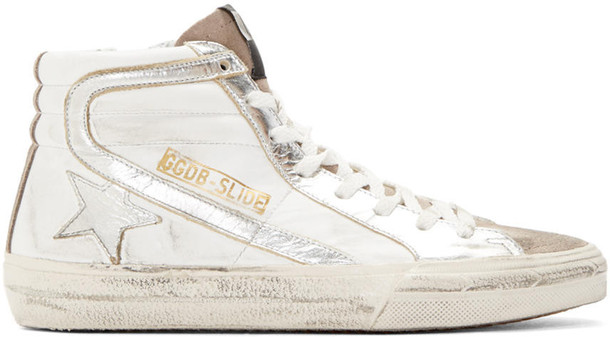 Golden goose high sneakers silver white shoes