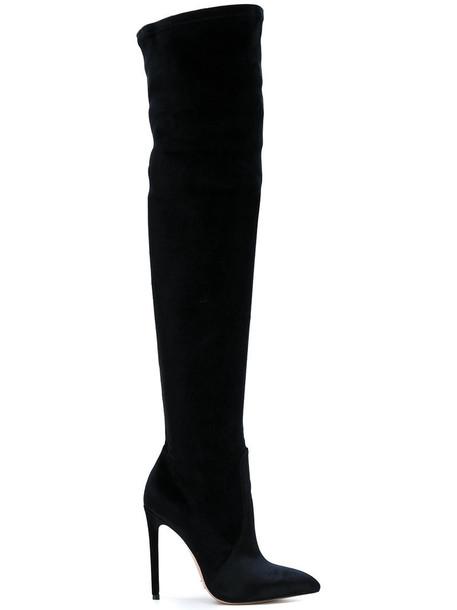 Gianni Renzi women boots leather black velvet shoes