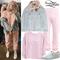 Kylie jenner: denim jacket, pink sweatpants | steal her style