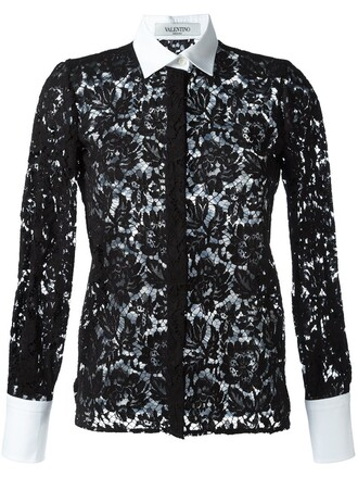 shirt lace shirt lace floral black top