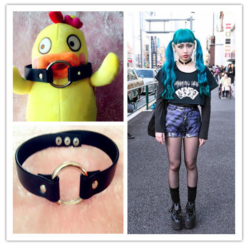 Collar punk goth ring choker necklace harajuku handmade faux leather necklace
