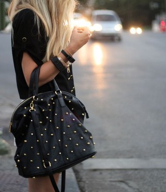 bag big purse black purse black and gold satchel bag studded purse stud